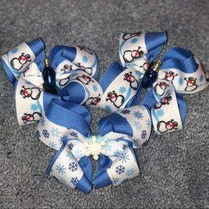 Winter/ Christmas Hair Bows 3 Pack
